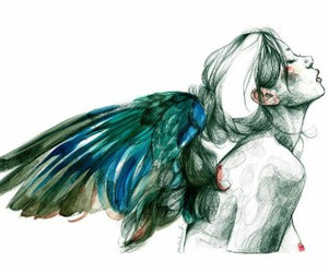 angel, art, and fly image