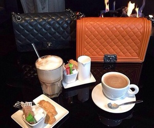chanel, coffee, and hermeslouboutinlouis image
