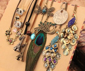 necklace, vintage necklace, and peacock necklace image