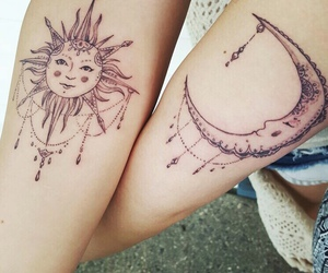 tattoo, sun and moon, and matching tattoos image