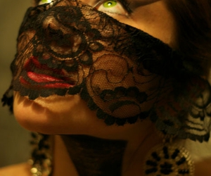 girl, lace, and green eyes image
