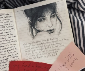 diary, drawing, and girl image