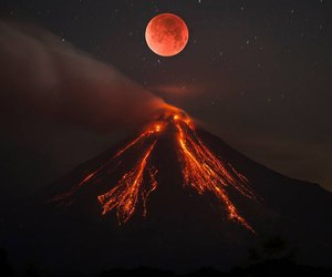 moon, nature, and volcano image