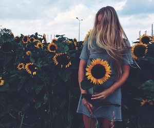 flowers, girl, and sunflower image
