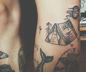 black, camping, and tattoo image