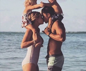 family, beach, and kiss image