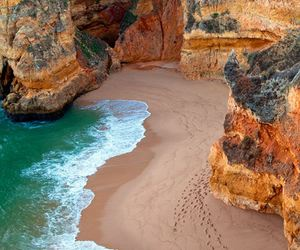 beach, nature, and portugal image