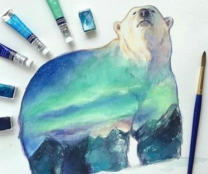 bear, drawing, and painting image
