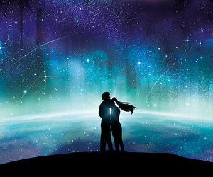love, couple, and galaxy image