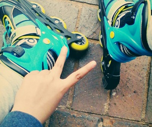 blue, green, and rollerblades image