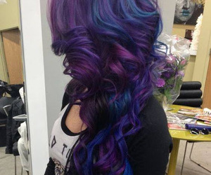 hairstyle, purple, and blue image