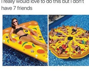 funny, friends, and pizza image