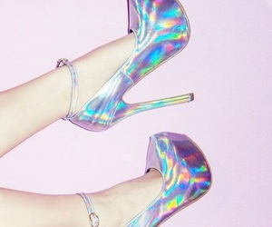 blue, pink, and heels image