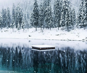 lake and snowing image