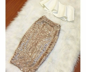 fashion, gold, and skirt image