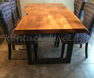 wooden table, live edge table, and etsy image