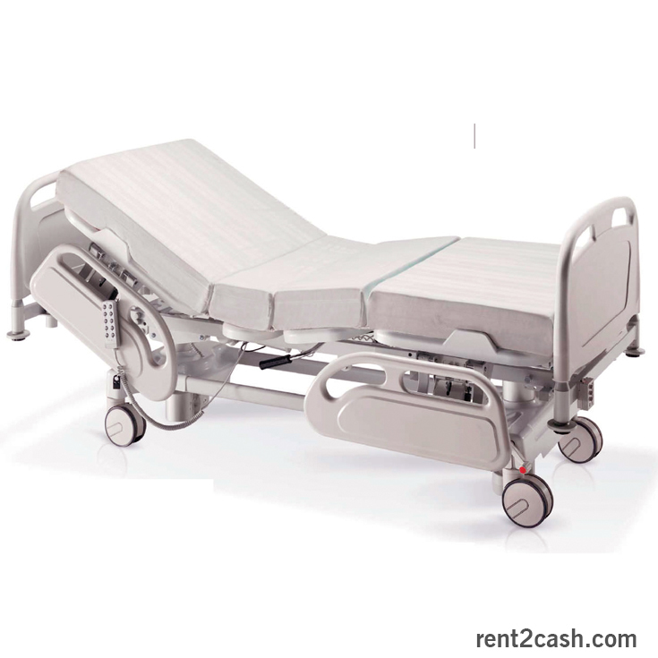 hospital bed, medical equipment, and hospital cot image