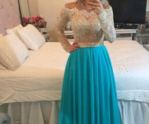 beading, evening gown, and long sleeve image