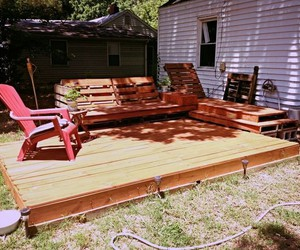 pallet deck, diy pallet deck, and pallet deck ideas image