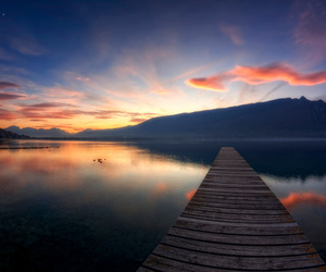 dock, lake, and landscape image