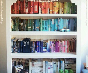 book, bookshelf, and colors image