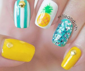 nails, pineapple, and blue image
