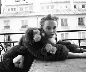black and white, bw, and lily rose depp image