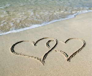 beach, hearts, and love image
