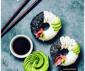 sushi, donuts, and healthy image