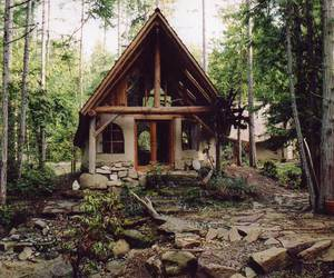 house, forest, and woods image