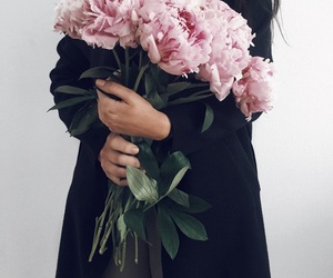 flowers, girl, and peonies image