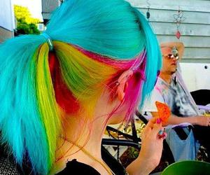 hair, blue, and rainbow image