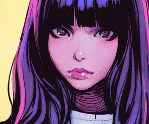 anime, art girl, and background image