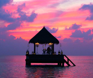 sunset, sea, and pink image