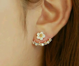 earrings, floral, and jewelery image