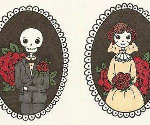 rose, skeleton, and skull image