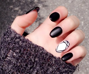 black and white, nails, and diamond nails image