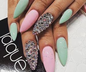 nails, pink, and green image