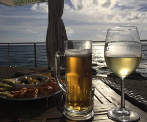 beer, sea, and wine image