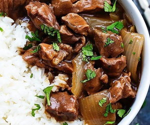 food, beef, and rice image