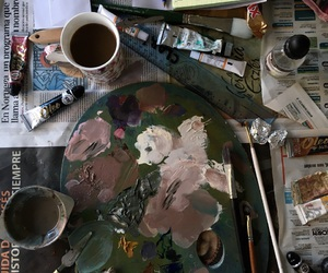coffee, painting, and pastel image