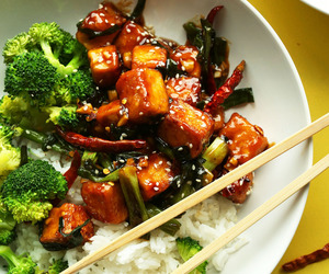 food, tofu, and stir fry image