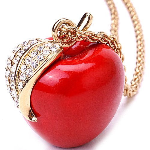 The snow white red apple pendant long necklaces mozeypictures Image collections