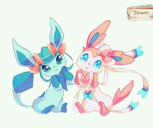 fan art, glaceon, and sylveon image