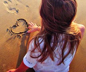 girl, heart, and beach image