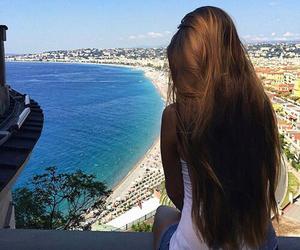 beach, cabelo, and paisagem image