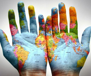 world, hands, and art image