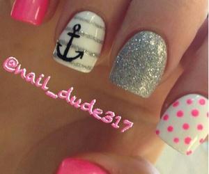 manicure, pink, and polkadot image
