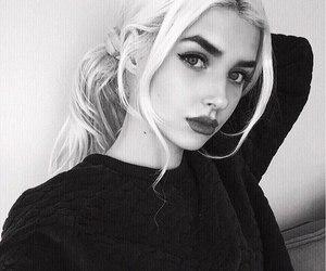 girl, black, and white image