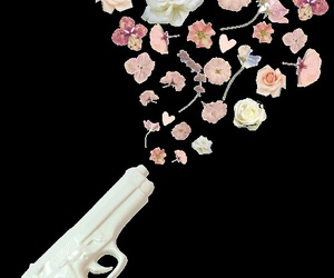 flowers, gun, and transparent image